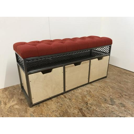 3-Drawer Storage Bench in Velvet