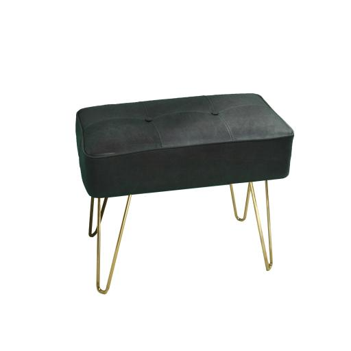 Leather Hairpin Leg Panel Bench Small