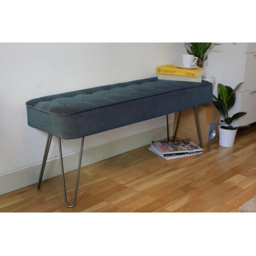Hairpin Leg Panel Bench in Velvet