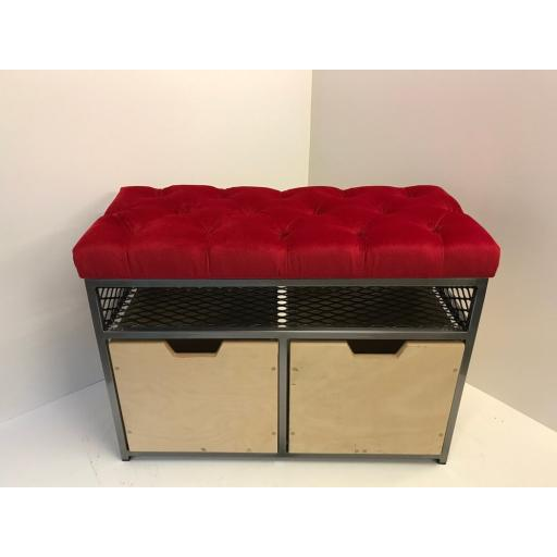 2-Drawer Storage Bench in Wool Blend