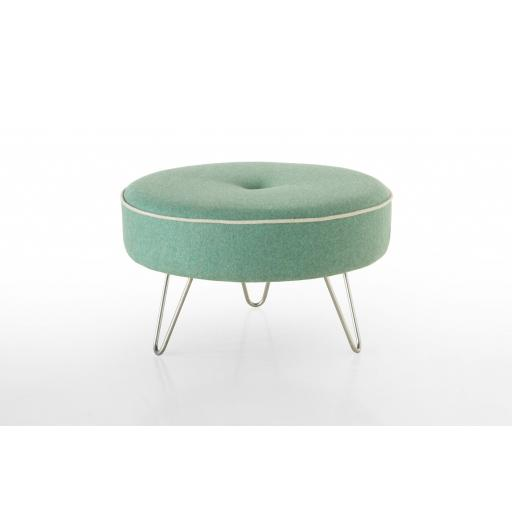 Contrast Piping Hairpin Leg Footstool