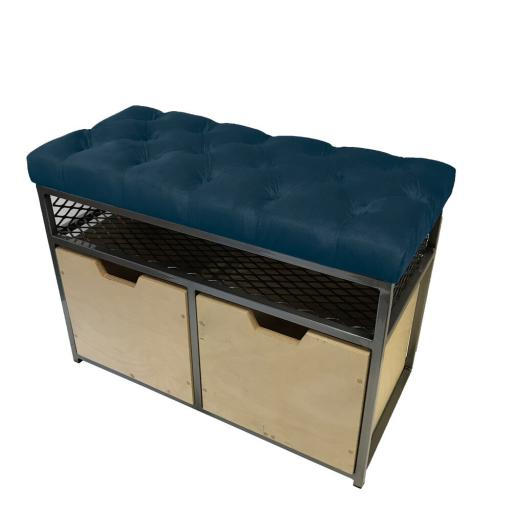 2-Drawer Storage Bench in Velvet